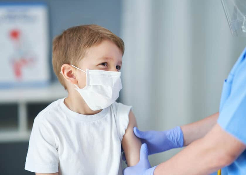 Portrait,Of,Adorable,Little,Boy,Being,Vaccinate,At,Doctor's,Office